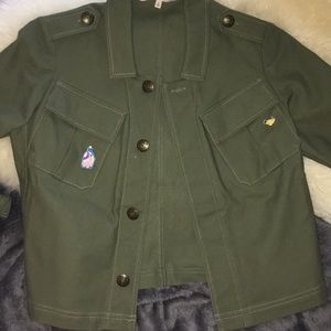 Bell-sleeved Rachel Roy olive military jacket